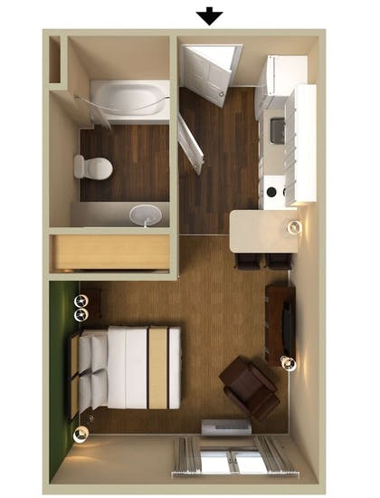 Floor plan | Extended Stay America Los Angeles - Monrovia