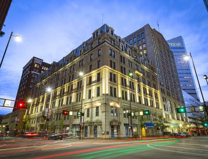 Hotel Front - Evening/Night | The Cincinnatian Hotel, Curio Collection by Hilton