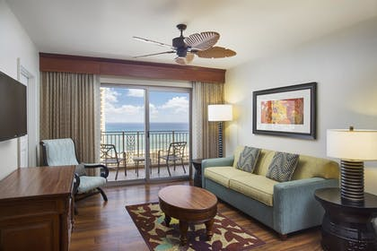 | 1 Bedroom Partial Oceanview Balcony King Suite with Sofabed | Grand Waikikian by Hilton Grand Vacations