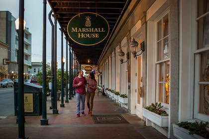 Hotel Front - Evening/Night | The Marshall House,Historic Inns of Savannah Collection