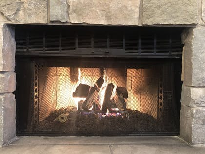 Fireplace | Ivy Court Inn & Suites