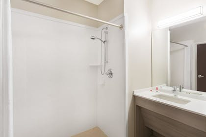 Bathroom Shower | Microtel Inn & Suites by Wyndham Springville/Provo
