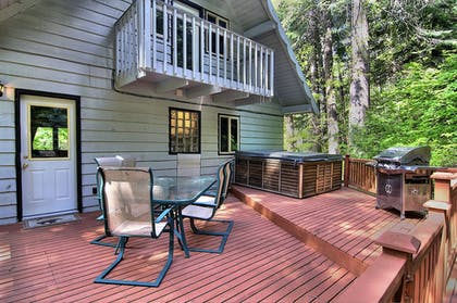 Terrace/Patio | Ridge View Retreat - Three Bedroom Cabin with Hot Tub