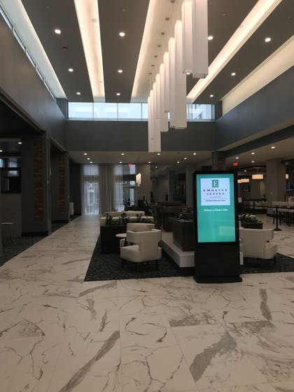 Lobby Sitting Area | Embassy Suites by Hilton Plainfield Indianapolis Airport