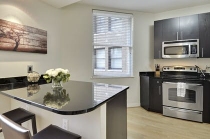 In-Room Kitchenette | The Woodward Building