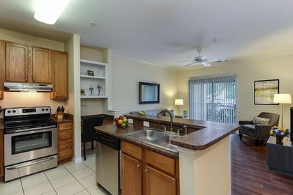 In-Room Kitchen | Oakwood Raleigh Brier Creek